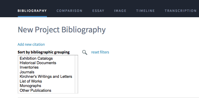 The bibliography tool within Getty Scholars' Workspace