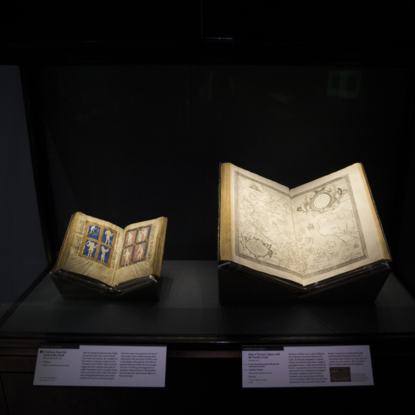 Installation view of Traversing the Globe through Illuminated Manuscripts