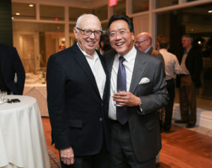 Ellsworth Kelly and Yo-Yo Ma attend a reception hosted by the Hopkins Center for the Arts at Dartmouth College