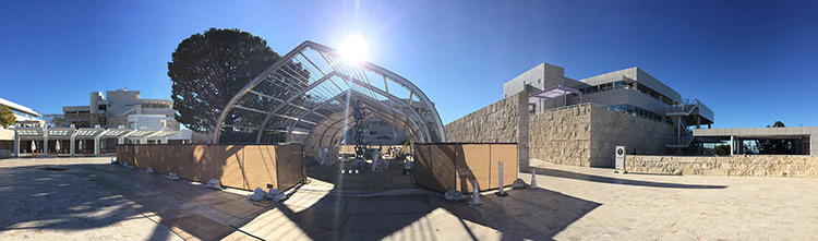 Morning panorama of the Getty's replica cave structure