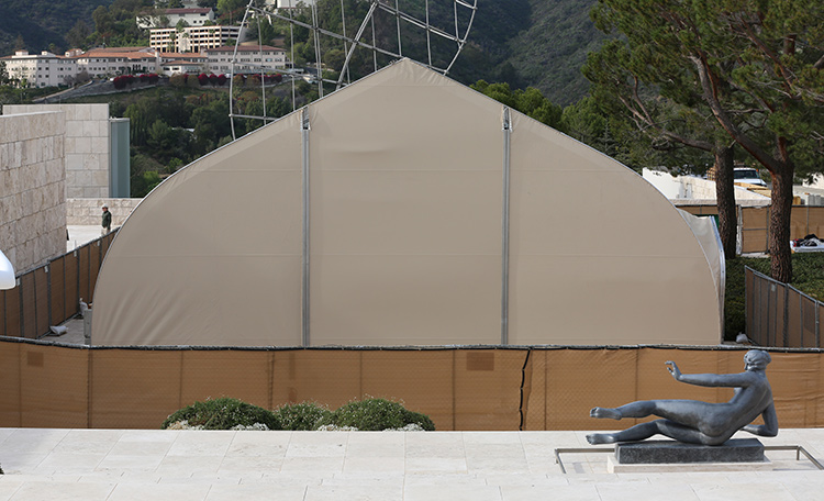View of the Getty's replica cave temple structure-in-progress from the top of the Museum Stairs