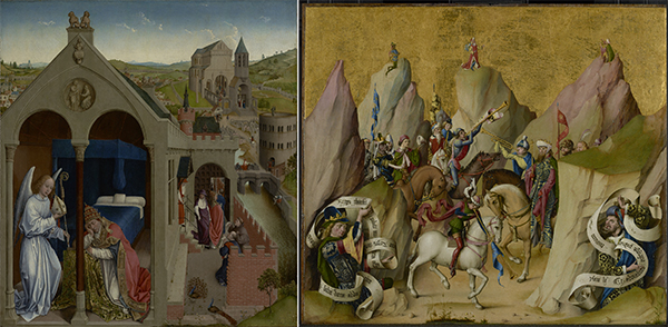 Details from two Medieval Christian artworks: The Dream of Pope Sergius, late 1430s, Workshop of Rogier van der Weyden, and The Meeting of the Three Kings, with David and Isaiah, before 1480, Master of the St. Bartholomew Altarpiece
