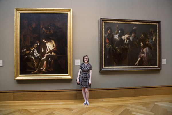 Amy Martin with her favorite paintings at the Getty