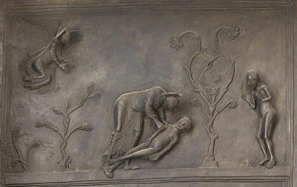 Detail of panel 1 of the bronze Bernward Doors, 1015