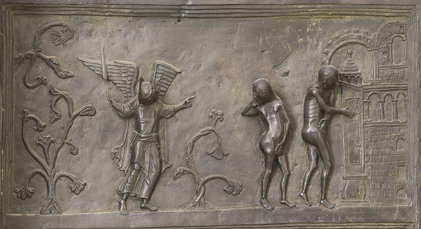 Detail of panel 4 of the bronze Bernward Doors, 1015.