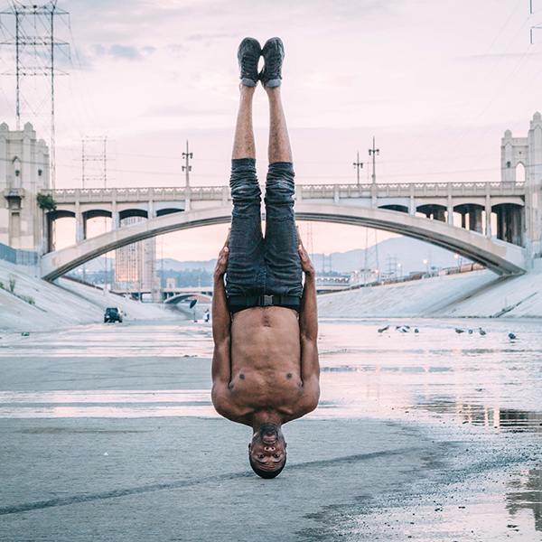 Handless headstand at the L.A. River / Lamonte Goode