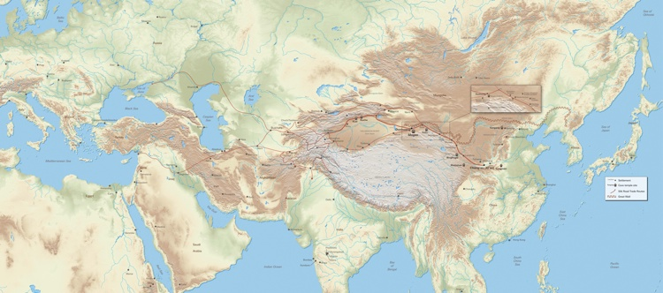 Map of historic Silk Road trade routes