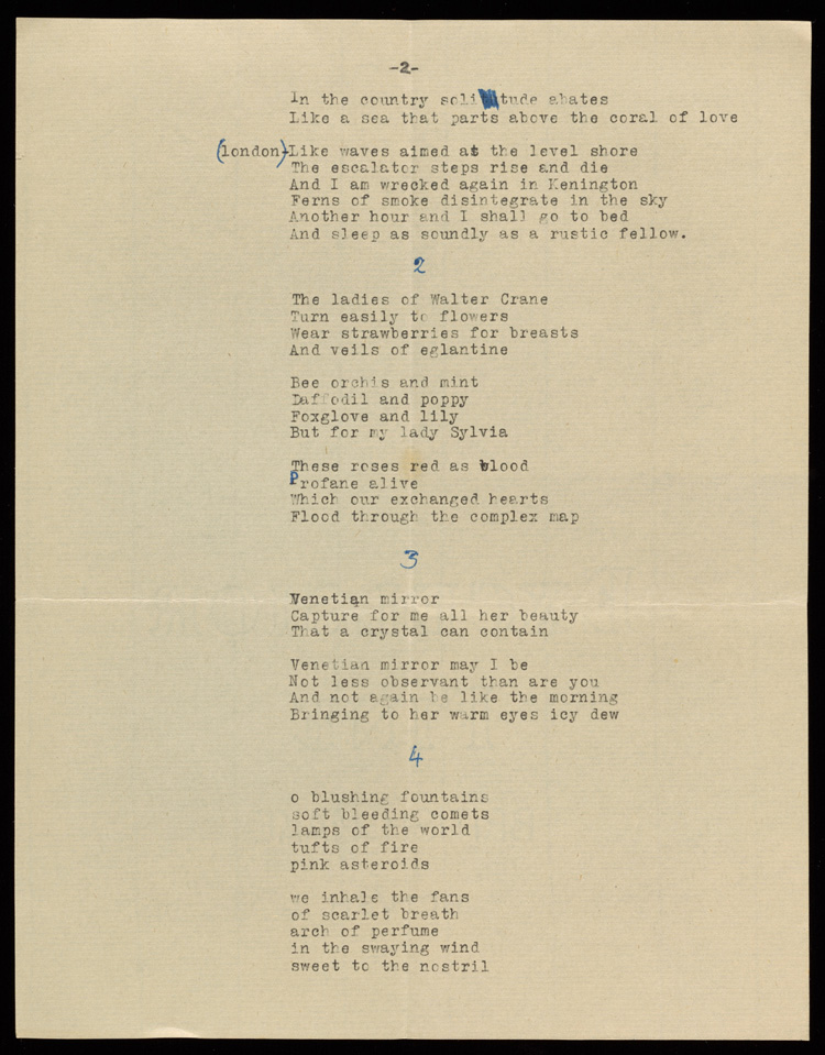 Poems sent by Lawrence Alloway to Sylvia Sleigh, July 1948