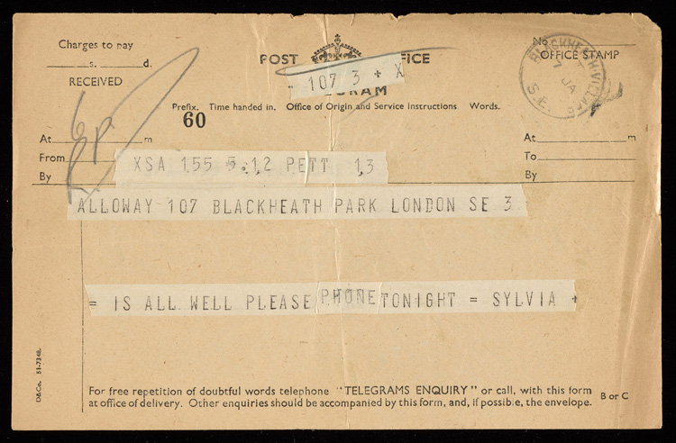 Telegram from Sleigh to Alloway, January 1952