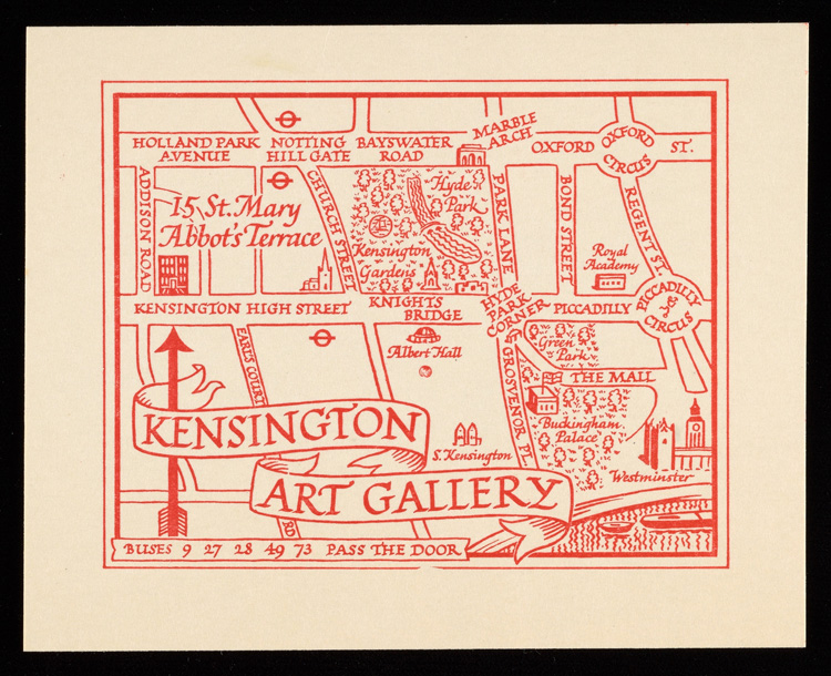 Card for a London art exhibition including Sylvia Sleigh's work, sent by Lawrence Alloway in November 1949