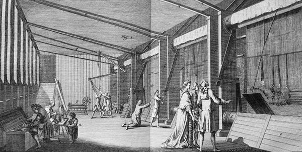 The high-warp weaving workshop in the Gobelins Manufactory