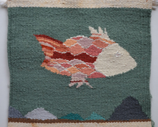 """Goldfish"" I wove when I was about 7 years old. Cotton warp, wool and silk weft. 7 ½ in. x 9 ¼ in. Photo: Yadin Larochette"