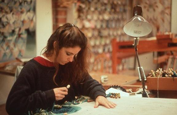 Here I am weaving on the traditional low warp, or horizontal, loom at Lurie-Larochette Tapestries in the late 1980s. Photo: Jean Pierre Larochette