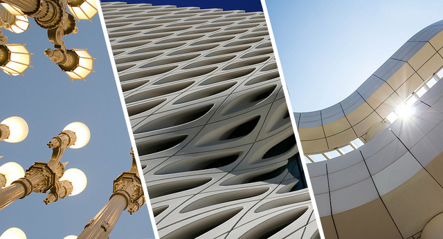 Parts of the Los Angeles community: LACMA, The Broad, and The Getty. Photos from left: Flickr users Susan Broman, Melissa Delzio, and Photos by Clark, CC BY-NC 2.0