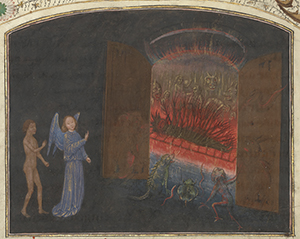 Leaf from The Gates of Hell and Lucifer, 1475, Simon Marmion. Tempera colors, gold leaf, gold paint, and ink on parchment. 14 5/16 x 10 5/16 in. The J. Paul Getty Museum. 87.MN.141.30.30v