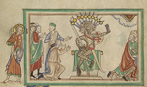 The Beast Enthroned; Unknown; London (probably), England; about 1255 - 1260; Tempera colors, gold leaf, colored washes, pen and ink on parchment; Leaf: 31.9 x 22.5 cm (12 9/16 x 8 7/8 in.); Ms. Ludwig III 1, fol. 24v