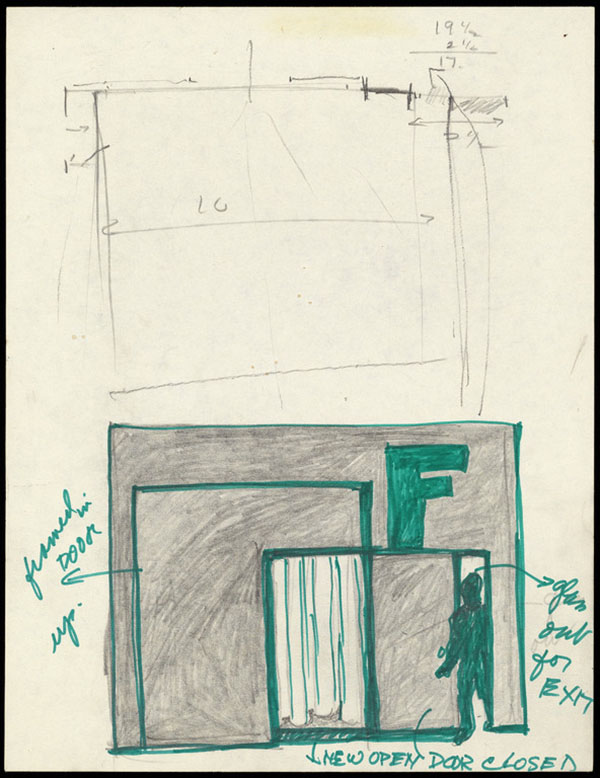 Untitled (drawing for the installation of Field Piece in F Space, Santa Ana) / Barbara T. Smith