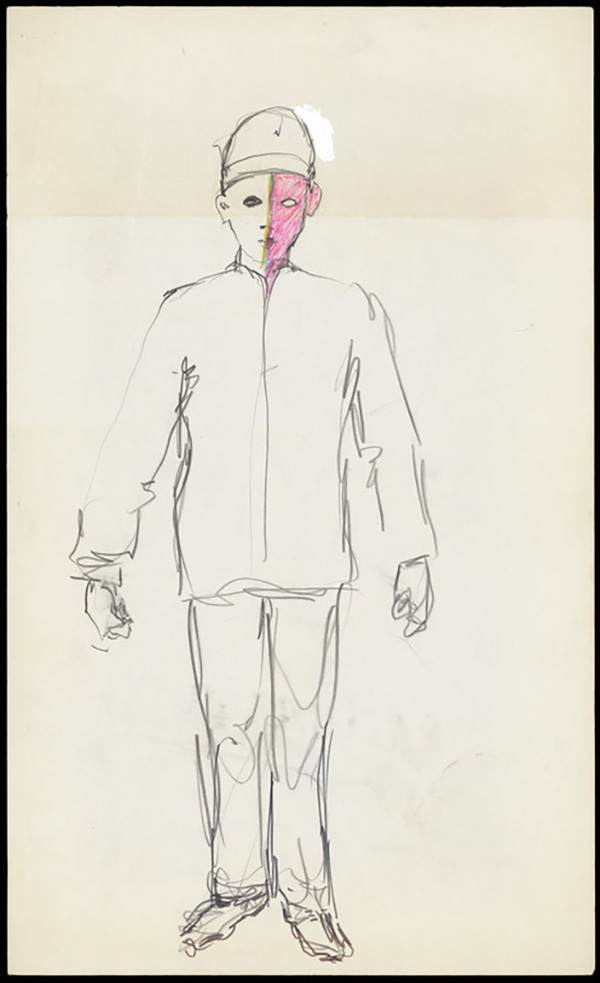 Untitled (drawing of the costume for the performance The Way to Be) / Barbara T. Smith