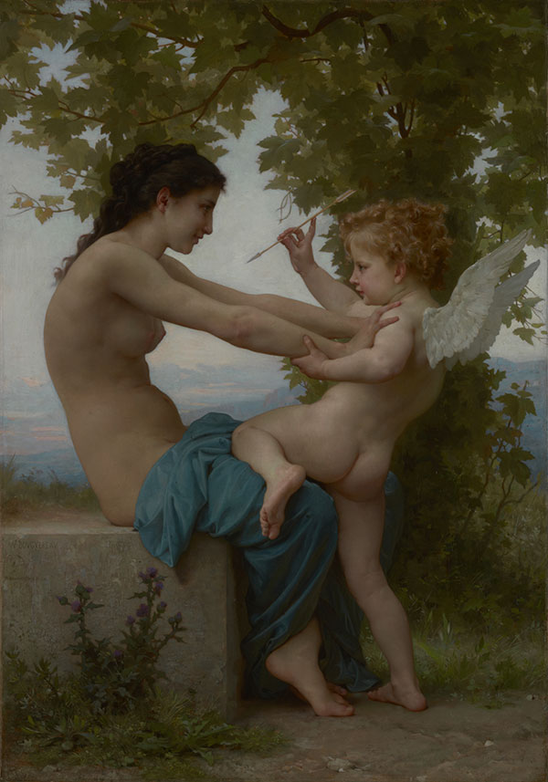 A Young Girl Defending Herself Against Eros / William Adolphe Bouguereau