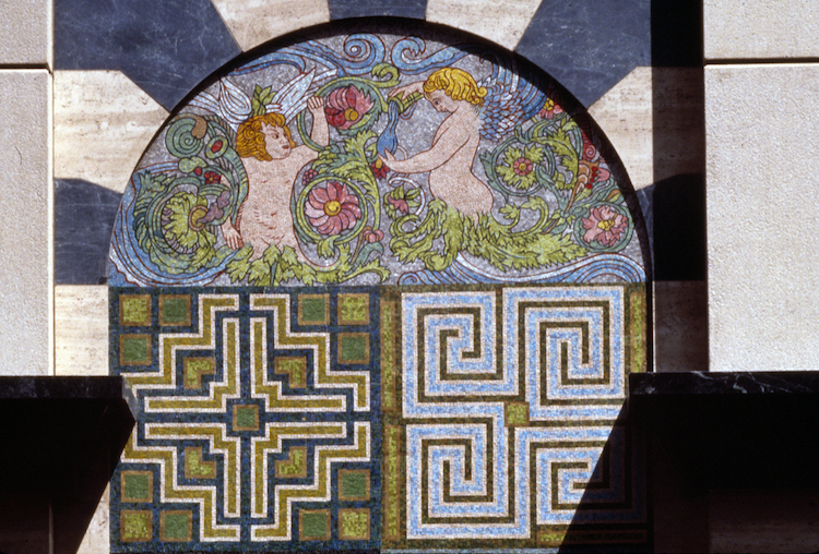 """Gardens at Villandry with Angels for Los Angeles,"" 1988. Glass mosaic, fabricated by Travisanutto Mosaics, Spilimbergo, Italy. Photo by Tom Vinetz."