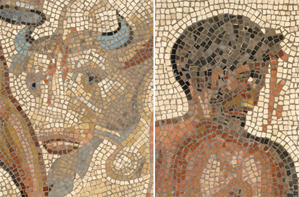 Details from Mosaic Floor with a Boxing Scene show mosaic tiles depicting blood streaming from wounds on the head of a bull and defeated boxer Dares.