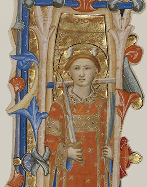 nitial I: A Martyr Saint, third quarter of 14th century, Lippo Vanni. Tempera colors, golf leaf, and ink on parchment. 11 7/8 x 4 1/2 inches. The J. Paul Getty Museum.
