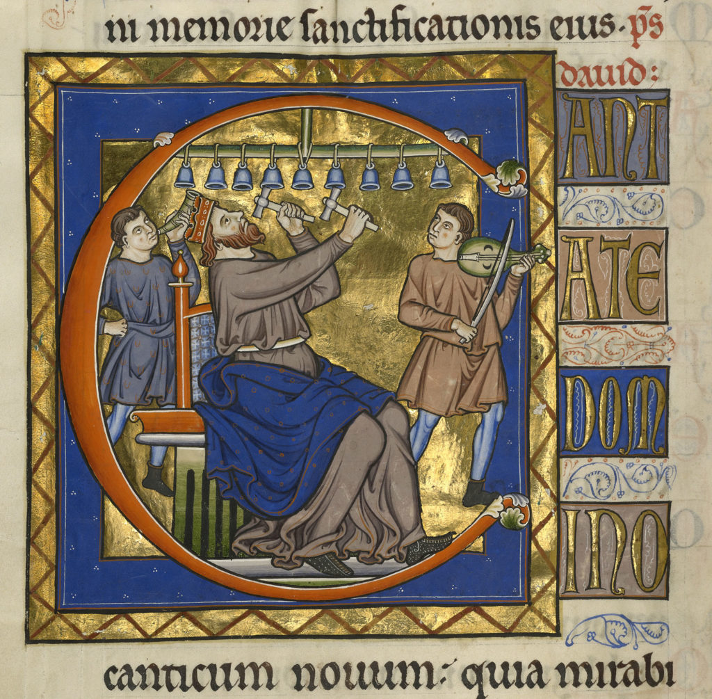 David Playing Bells, after 1205, Master of the Ingeborg Psalter Culture. Tempera colors and gold leaf on parchment. 12 3/16 x 8 5/8 in. Ms. 66, fol. 105v. 99.MK.48.105v