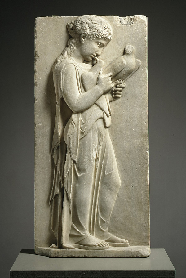 Marble Relief with a Young Girl Holding Doves