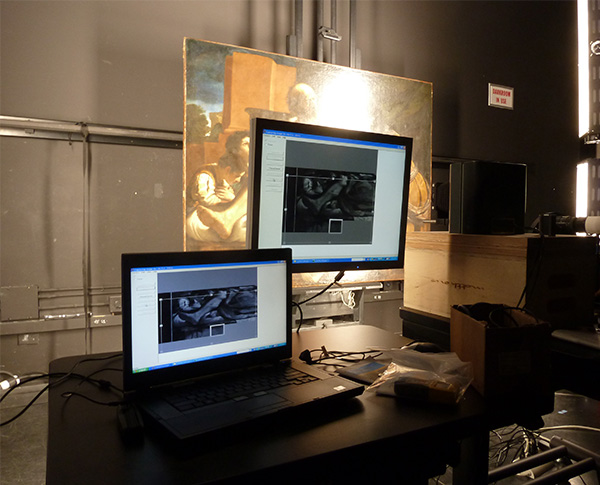 Multispectral imaging being carried out on Jacob Blessing the Sons of Joseph by Getty assistant conservator Douglas Maclennan