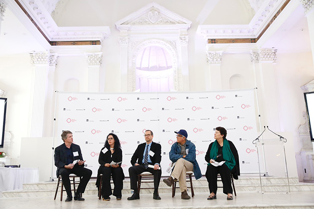 "From left, curator Dan Cameron, art historian and curator Cecilia Fajardo-Hill, Chon Noriega, Professor, UCLA Chicano Studies, artist Rubén Ortiz Torres and Deborah Marrow, Director of the Getty Foundation speak during the press conference for ""Pacific Standard Time: LA/LA"" held at Vibiana on Wednesday, March 30, 2016, in Los Angeles, Calif. (Photo by Ryan Miller/Capture Imaging)"