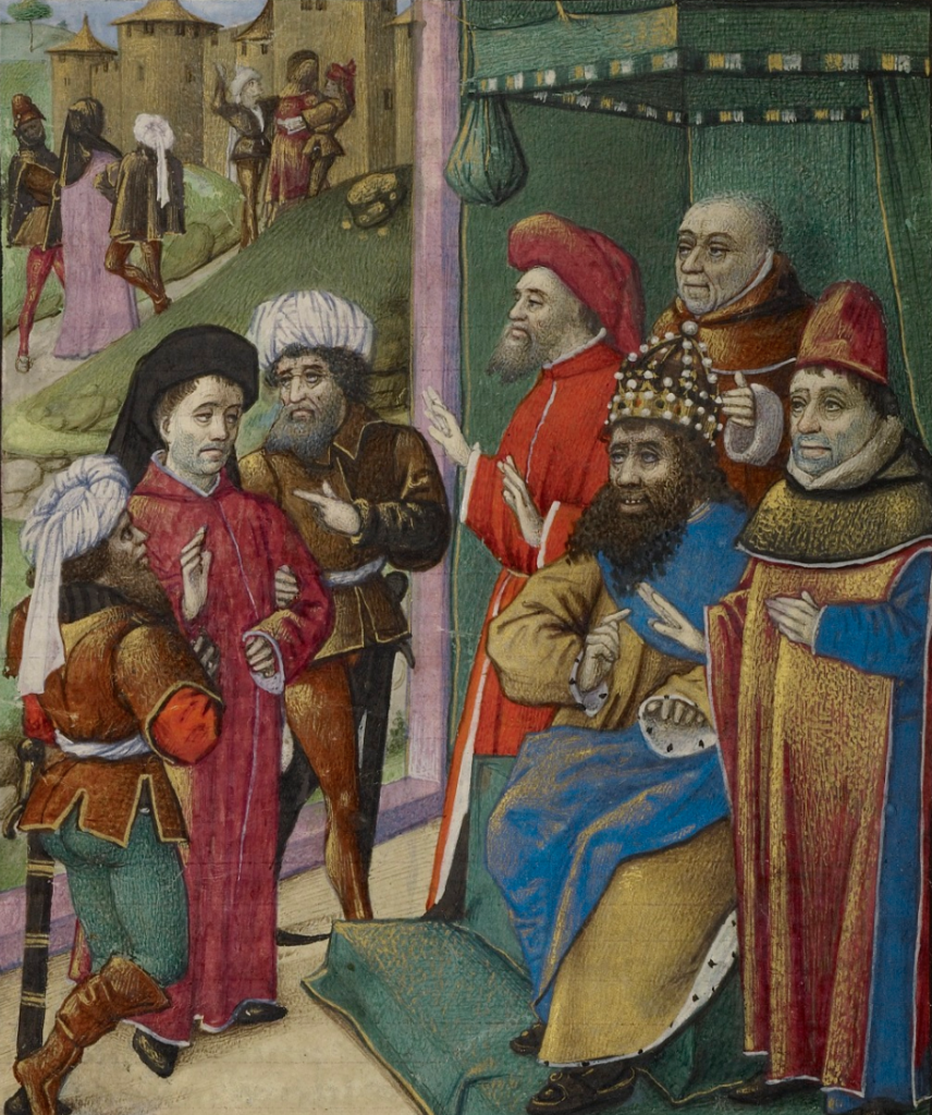 An Emperor at Court, about 1460-1470, Unknown. French. Tempera colors, gold leaf, gold paint, and ink on parchment. 6 15/16 x 4 1/2 inches. The J. Paul Getty Museum