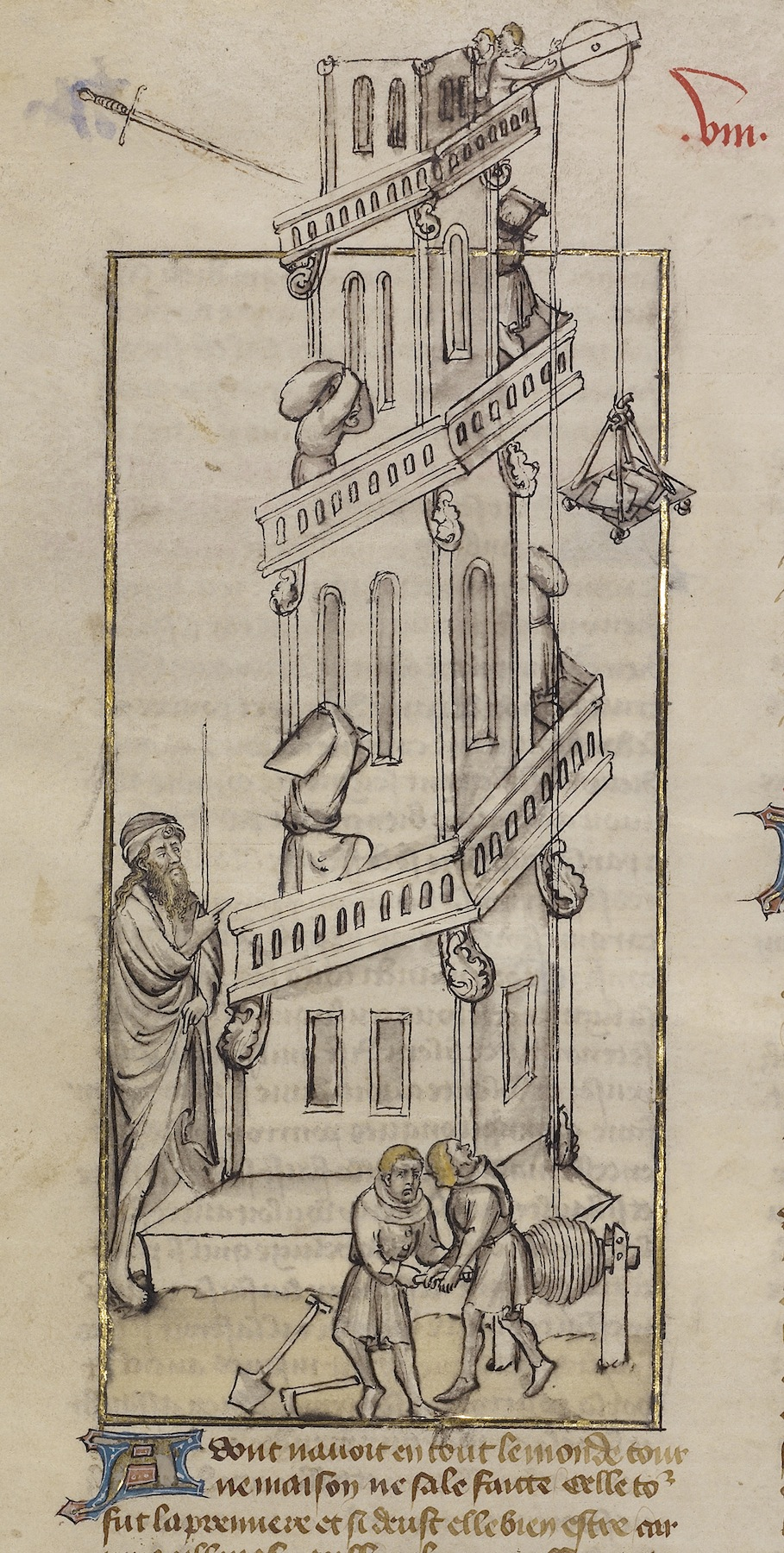 The Building of the Tower of Babel; First Master of the Bible historiale of Jean de Berry (French, active about 1390 - about 1400), Unknown; Paris, France; about 1390 - 1400; Tempera colors, colored washes, gold leaf, and ink on parchment; Leaf: 37.8 x 29.8 cm (14 7/8 x 11 3/4 in.); Ms. Ludwig XIII 3, leaf 2v