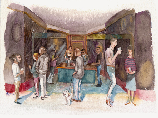 <em/>Civil Coffee (Highland Park), Tayen Kim. Watercolor. Courtesy of and © Tayen Kim
