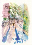 <em/>Downtown L.A. Street Scene, Tayen Kim. Watercolor. Courtesy of and © Tayen Kim