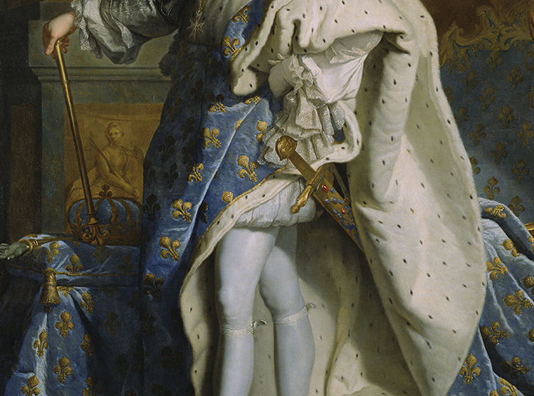 Details of fleurs-de-lis on a portrait of Louis XIV / Hyacinthe Rigaud