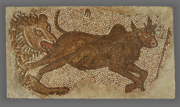 Mosaic of a Lion Chasing a Bull / Roman