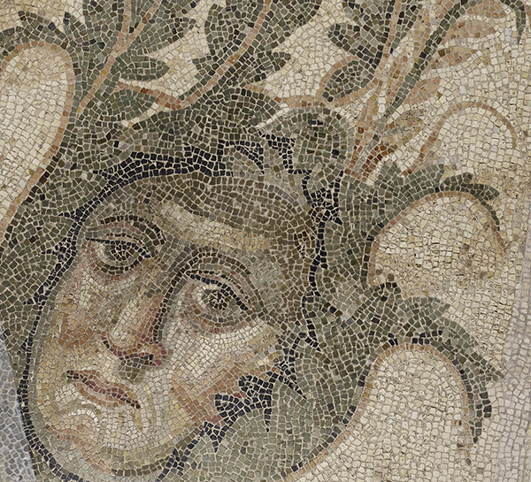 Mosaic face from Mosaic Floor with a Bear Hunt / Roman