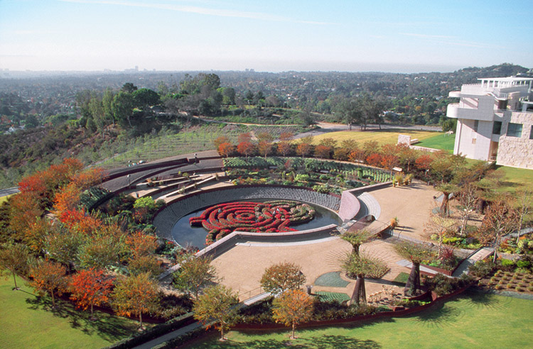 An overhead view of the Central Garden at the Getty Center