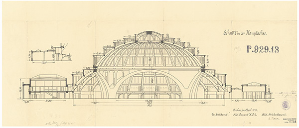 Open elevation drawing of Centennial Hall by Max Berg