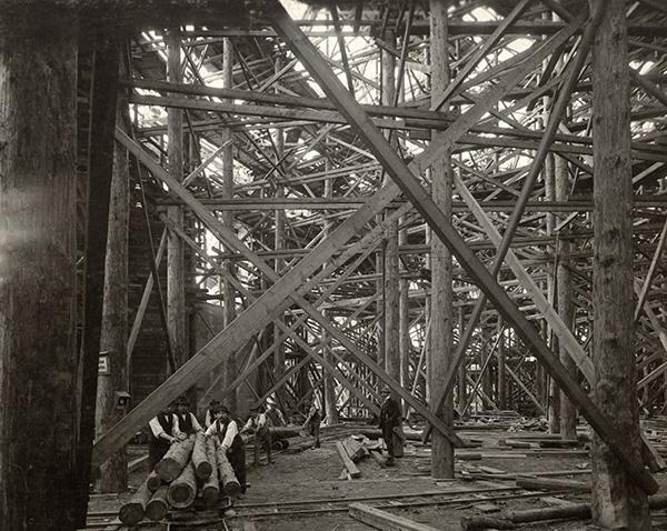 Centennial Hall, interior under construction, Fall 1912