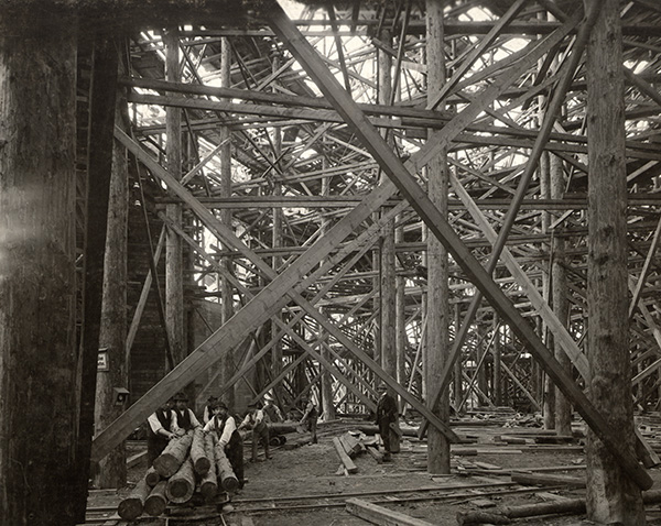 Centennial Hall, interior under construction, Fall 1912