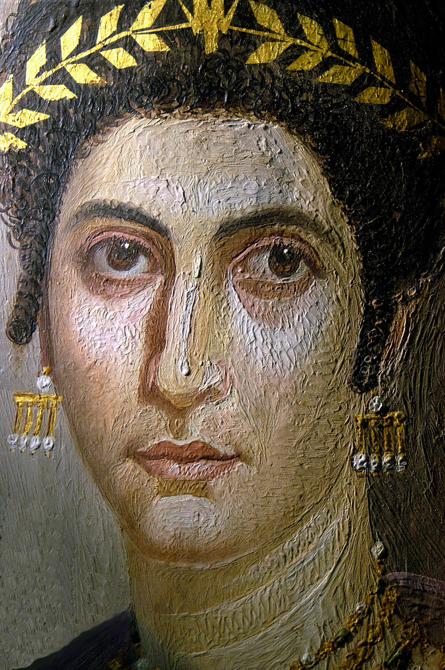 Detail of a Mummy Portrait of Isidora shown in raking light