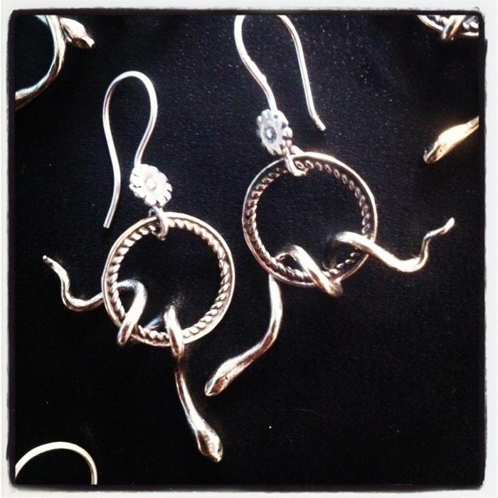 Snake earrings designed by Jivita Harris-Casey