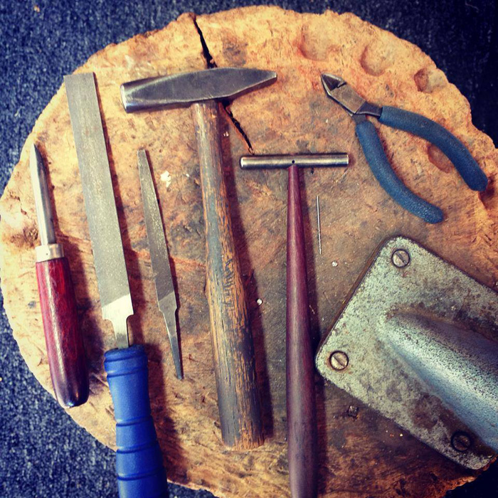 Metalworking tools in Jivita Harris-Casey's studio