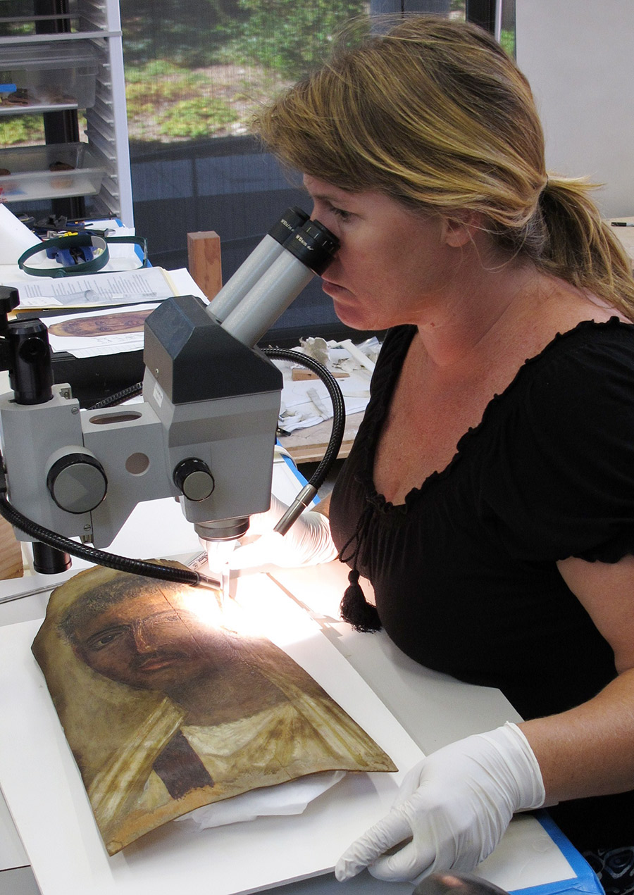 Joy Mazurek, assistant scientist at the Getty Conservation Institute, sampling a mummy portrait for analysis