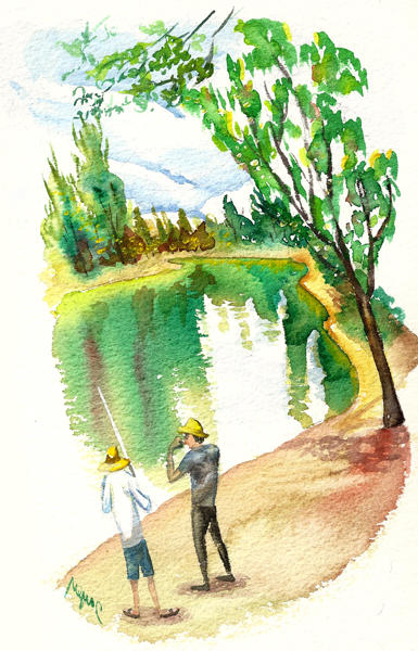 <em/>Lake, Tayen Kim. Watercolor. Courtesy of and © Tayen Kim