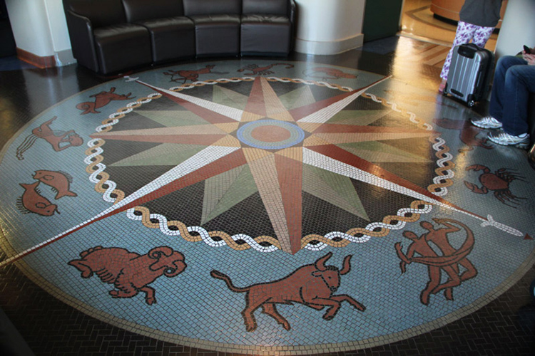 Long Beach Airport, tile floors with signs of the zodiac