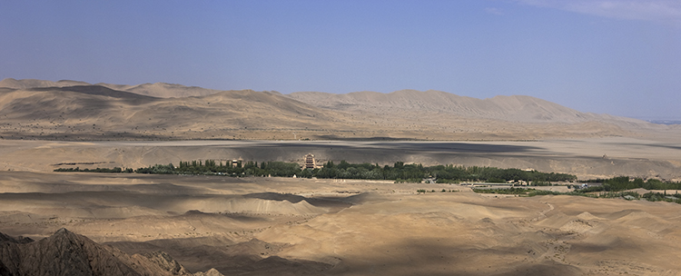 Panorama of the cave temples of Mogao at Dunhuang