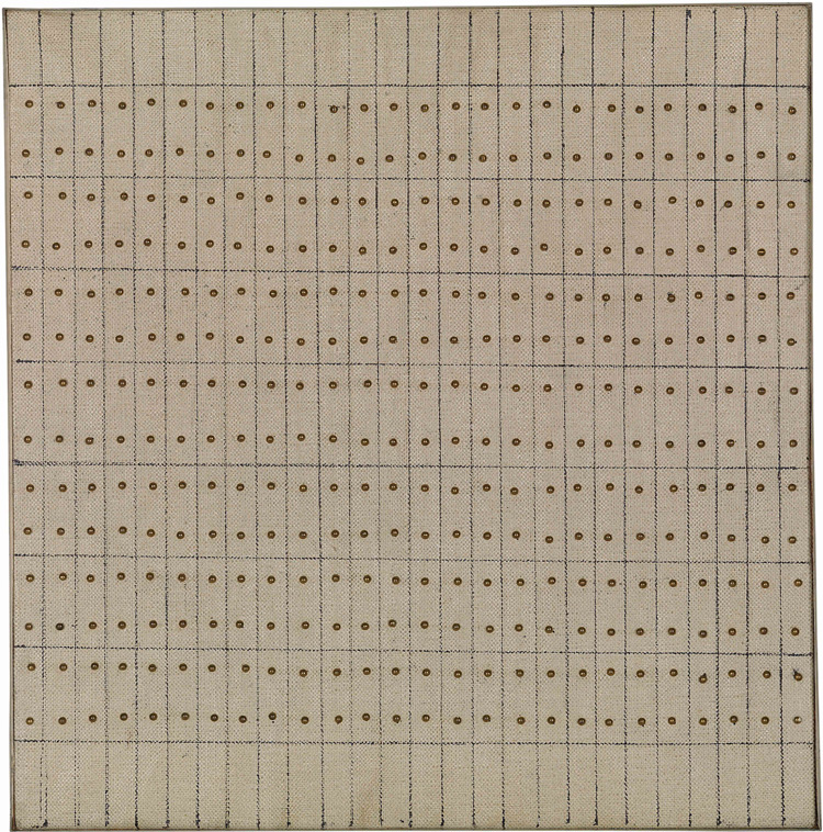 Little Sister, 1962, Agnes Martin. Courtesy of Guggenheim Museum, gift of Andrew Powie Fuller and Geraldine Spreckles Fuller Collection, and copyright Agnes Martin/Artists Rights Society