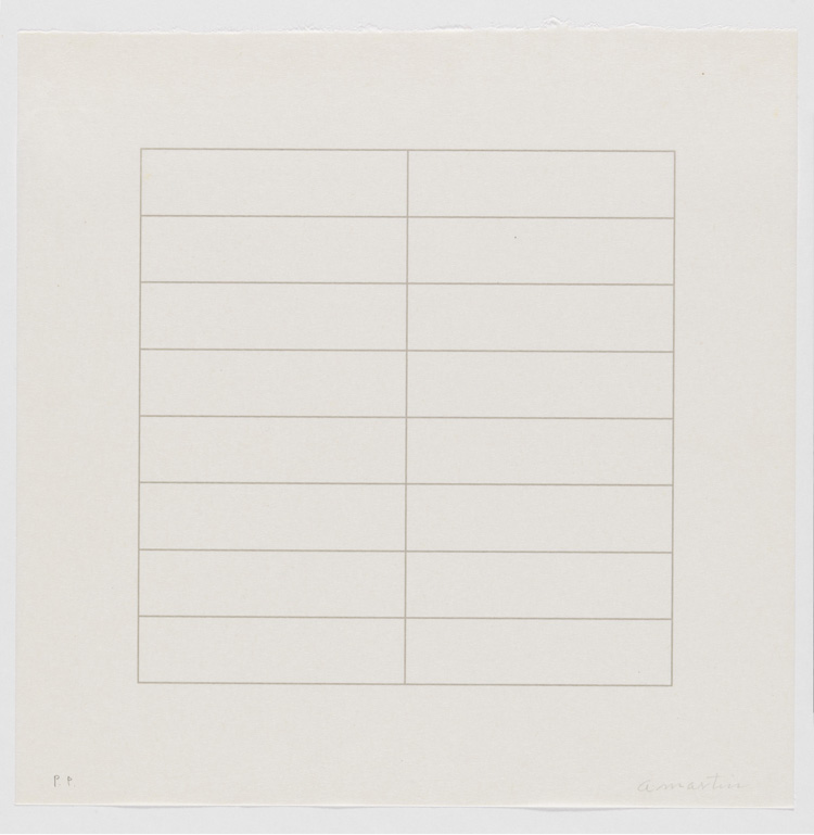 Untitled, from the portfolio On a Clear day, 1973, Agnes Martin. Courtesy of LACMA, with funds provided by the Kotick Family Foundation in honor of Lynda and Steward Resnick through the 2007 Collectors Committee, and copyright Agnes Martin/Artists Rights Society and Museum Associates/LACMA
